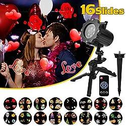 Qomolo LED Lampe Projecteur, Lampe Projection Décorative Extérieur/Intérieur avec Télécommande avec 16 Scène Motifs, Projecteur de Lumière pour Saint Valentin/Anniversair/Mariage/Soirée/Noël