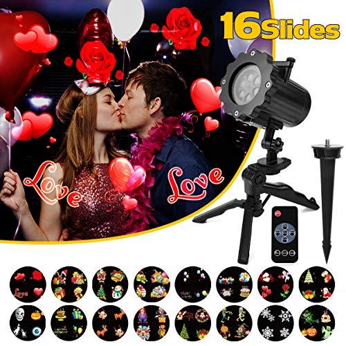 Proiettore Luci San Valentino Esterno Qomolo Proiettore Lampada LED 16 Diapositive con Telecomando, per Illuminazione Interna Esterna, Decorazione Ideale per Feste San Valentino Compleanno Carnevale