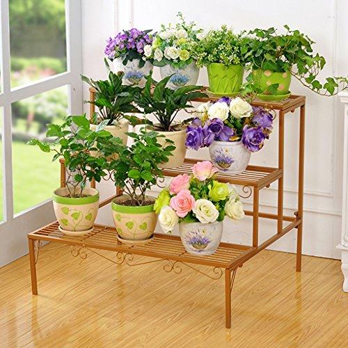 WSSF- Supports de pots Plancher de fleur de fer étage multicouche échelle fleur Pot étagère salon intérieur balcon plantes vertes accrocher le présentoir de fleur d'orchidée charnue, 70 * 60 * 60cm ( Couleur : #3 )