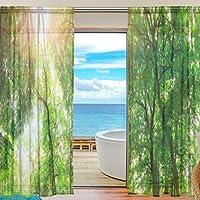 Sheer Voile Fenster Vorhang Tropical Wald Bäume Landschaft Sonnenlicht  Muster Print Polyester Material Stoff Für Schlafzimmer