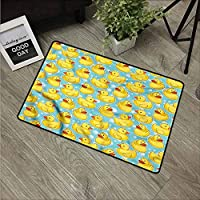 NineHuiTechnology Non-Slip Heavy Duty Front Welcome Doormat Rug, Outside Patio, Inside Entry Way, Catches Dirt Dust Snow & Mud, Duckies, Polka Dots Childish Cartoon
