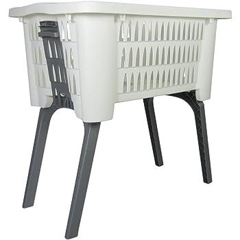 w schekorb 42l mit ausklappbaren beinen korb mit f en wei w schesammler k che. Black Bedroom Furniture Sets. Home Design Ideas
