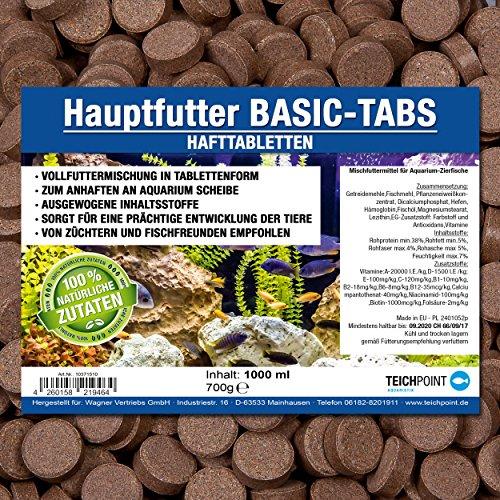 Basic-Tabs PREMIUM Futtertabletten (Hauptfutter für alle Zierfische in Tablettenform) - Hafttabletten im 1 Liter Beutel