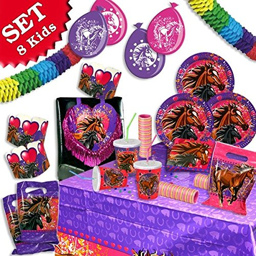 PFERDE Geburtstag-Deko-Set, 76-teilig zum Kindergeburtstag Mädchen und Pferde-Motto-Party für 8 Kids
