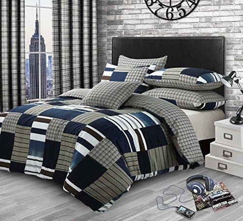 Flickwerk Kariert Denim Druck Baumwollmischung Doppel (Einfarbig Beige Passendes Leintuch - 137 X 191cm + 25) 4 Teile Bettwäsche Set (Tröster Und Blau Braun)