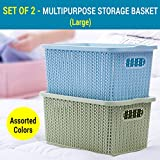 #6: TIED RIBBONS Premium Quality plastic Tapered hollow basket woven Storage box / organizer / bin / Basket With lid for Kitchen, Utility, Living room, kids room, Bedroom or Bathroom or office basket storage(33 cm X 20 cm X 22 cm)