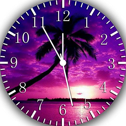 Rusch Wanduhr, Palme in lila Sonnenuntergang, 25,4 cm, Wird EIN schönes Geschenk und Zimmer Wanddekoration X44
