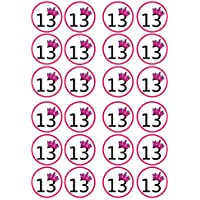 N. 13° compleanno, colore: rosa, commestibili, di spessore dolcificati vaniglia, Carta di riso topper per Cupcake e decorazioni