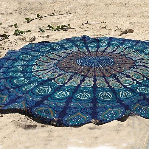 Dermier Runder Strandtuch mit Pfaufeder-Mandala-Motiv, Hippie-Stil, Boho-Stil Tagesdecke, Wandbild, no Baumwolle, dekorativer Wandbehang, runde Meditations-Yoga-Matte