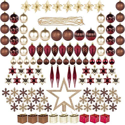 Itart 129ct decorazioni di albero di natale pieno set palle di natale ornamenti assortiti, compresi albero topper, fiore di natale, ghirlanda di perline, coni di pino (champagne marrone rosso)