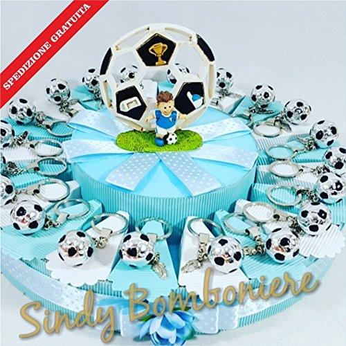 Pallone scarpetta da calcio portachiavi bomboniere per nascita compleanno battesimo bimbo spedizione inclusa (torta da 35 fette)