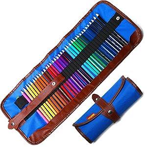 Lápices De Colores Set, 36 Kit De Dibujo De Lápiz De Color Con Roll Up Canvas Caso Para Adultos y Niños (Blue)