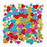 JZK 180 Colorati Glitter autoadesivi Glitterati Decorativi Cuoricini Adesivi Schiuma Cuore per Bambini lavoretti Decorazioni Lavoro di bricolage Scrapbook, 45mm-20mm Adesivo Glitterato