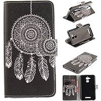Skytar Zenfone3 Max ZC520TL Coque,Potchette pour Asus Zenfone 3 MAX - Flip Case Cover Cuir Etui à rabat Coque pour Asus Zenfone 3 MAX ZC520TL (5,2 Pouces) Smartphone Housse de Protection,Dreamcatcher noir
