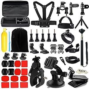 48-in-1 Accessoire pour Gopro, Kit d'accessoires pour Gopro Hero 5/4 /3/SJ4000/5000/6000, AKASO/EK7000/DBPOWER/EX5000/Lightdow LD4000 Sjcam and Xiaomi Yi