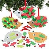 Weihnachtliche Bastelsets für Igel-Anhänger für Kinder zum Selbstgestalten und Aufhängen – Kreatives Bastelset mit Moosgummi-Anhängern (5 Stück)