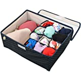 Yellow Weaves™ Undergarments Organizer / Foldable Storage Box with Lid for Drawers Blue