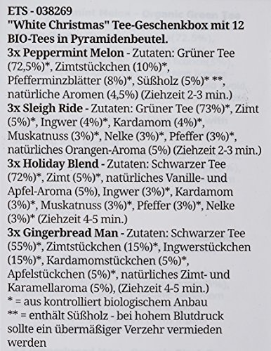 "English Tea Shop – Teegeschenk mit Schleife""White Prism Christmas Collection"", BIO, 12 Pyramiden-Beutel"