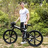 Minilism Elektrofahrrad Faltbares Mountainbike 36V 250W E-Bike mit Große Kapazität Lithium-Akku, 21-Gang Shimano Zahnrad mit 26 Zoll (schwarz(Sechs Messer-Rad))