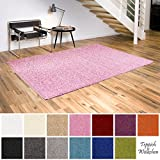 Shaggy-Teppich | Flauschige Hochflor Teppiche für Wohnzimmer Küche Flur Schlafzimmer oder Kinderzimmer | Einfarbig, schadstoffgeprüft, allergikergeeignet (Rosa, 160 cm rund)