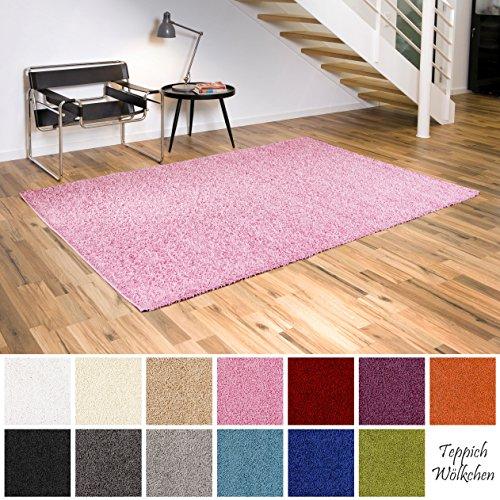 Preisvergleich Produktbild Shaggy-Teppich | Flauschige Hochflor Teppiche fürs Wohnzimmer, Esszimmer, Schlafzimmer oder Kinderzimmer | einfarbig, schadstoffgeprüft, allergikergeeignet (Rosa, 40 x 60 cm)