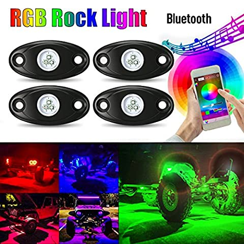 4 Pods RGB LED Rock Light Kits, AMBOTHER Car Underglow Neon Underbody Atmosphere Lights Kit Waterproof Multi-Color GREE LED Light Music Sync with Cellphone App Mini Bluetooth for JEEP Off Road Truck Car ATV SUV Vehicle Boat