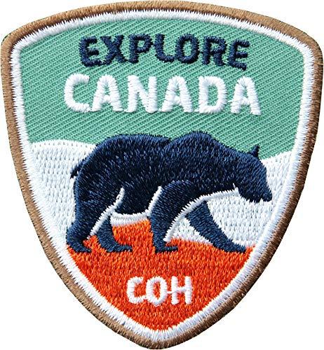 2 x Kanada Abzeichen gestickt 55 x 60 mm / Entdecke Canada Outdoor Trekking Reise / hochwertige Applikation Bär Aufnäher Aufbügler Flicken Bügelbild Sticker Patches für Kleidung Tasche Rucksack