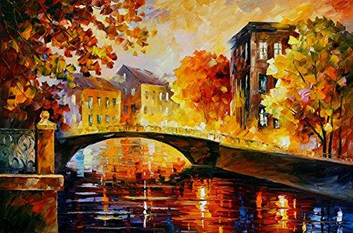 Van Eyck Bridge at City Colorful Paesaggio Coltello pittura a