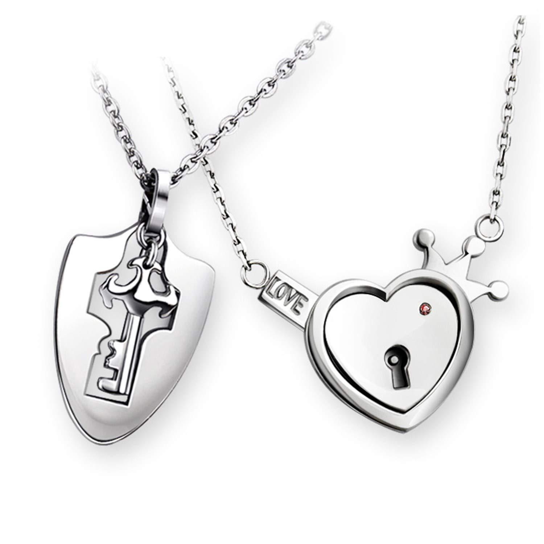 Cadena de plata para parejas, hombre, mujer, llaves, bloqueo, colgante de corazón, 2 unidades, acero inoxidable plateado