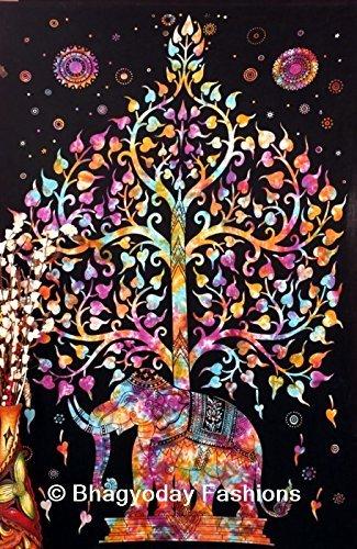 Indischer Elefant Wand Gobelin, Hippie Hippie-Mandala Tapisserie, mehrfarbig Tree of Life Wandteppiche, viel Glück, Hippie Gypsy Wandteppichen, böhmischen Decor Tie Dye Wohnheim, Psychedelic Baumwolle Tagesdecke Decor Art, 137,2x 218,4cm (Dye Tie Neue Baumwolle)
