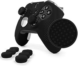 Elite Pro Grip Studded Skin Set with Raised Anti Slip Studs Plus Set Of 8 Qsx Elite Thumb Grips For Xbox One Elite Controller( Black)