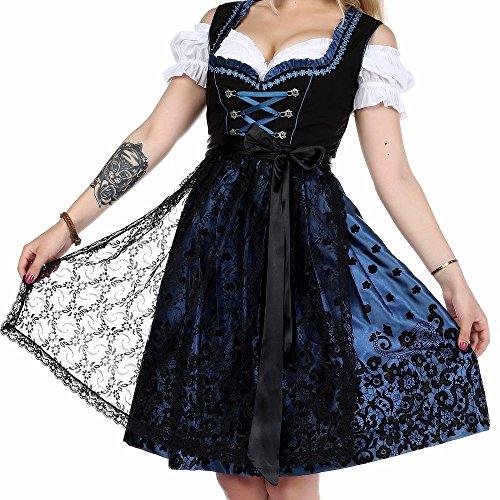 Meloo Trachtenkleid Damen Dirndl Oktoberfest Trachten Kleid Traditionelles Abendkleid Spitzenkleid Partykleid Blau Rosa Weinrot Türkis (38, Petrol Blau)
