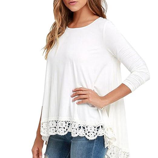 Women Blouse ,Women's Lace Long Sleeve White Shirt Casual Blouse ...