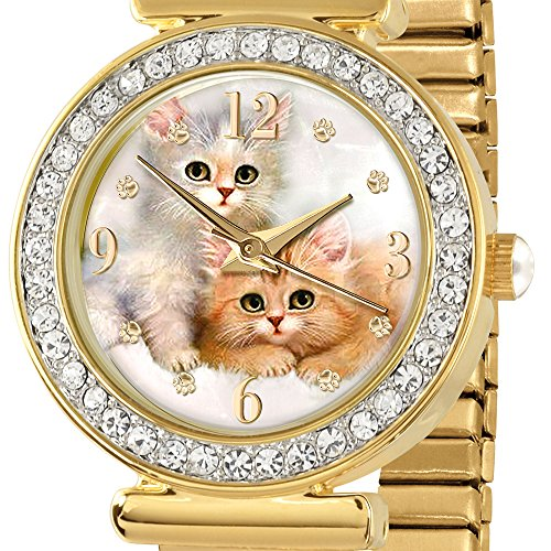 Cats Leave Pawprints On Our Hearts Gold-Plated, Stretch Watch Featuring Precision Quartz Movement, Celebration Of Your Beloved Cat, Limited To 4,999 Editions. Exclusively From The Bradford Exchange