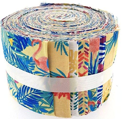 Fabric Freedom Stoff Freiheit Tropical Gelb Jelly Baby Rolle, 100% Baumwolle, Mehrfarbig, 9x 9x 7cm