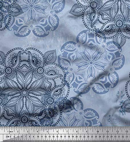Soimoi Blau Poly Georgette Stoff Mandala & Paisley ethnisch Stoff Drucke Meter 52 Zoll breit Georgette Paisley