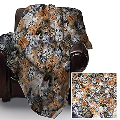 Cats All Over Design Soft Fleece Blanket Cover Throw Over Sofa Bed Blanket