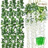 Aplanet 18PCS artificiale fiori rampicanti Fake Wisteria Vine include 6pcs (3.6feet) finta seta Glicine e viti 12PCS ( 6.5feet ) finta edera rampicante con una confezione di fascette per festa di nozze giardino decorazione da parete