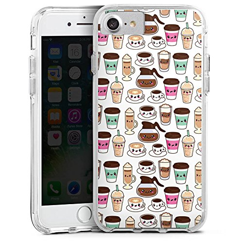 Apple iPhone 6 Bumper Hülle Bumper Case Glitzer Hülle Kaffee Coffee Kawaii Manga Style Bumper Case transparent