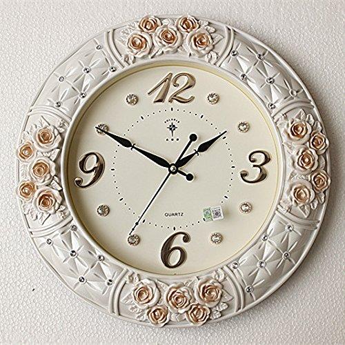 JRZSNLJY Europäische digitale Uhr mute rund Quarzuhr zimmer Büro Wecker Rosa