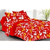 Rivaz DOUBLE BEDSHEET With Pillow Covers (100% COTTON) Queen 150 TC - Feelings Flowers (Red 1512)
