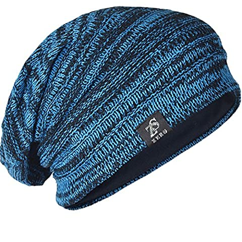 Chic Men Baggy Beanie Slouchy Knit Skull Cap Hat (Bright Blue)