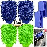 YuCool Lot de 4en microfibre Gants de lavage de voiture avec 2serviettes de nettoyage, haute densité, Ultra doux Gants de...