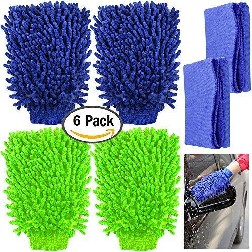 YuCool 4Stück Mikrofaser Auto Waschhandschuhe mit 2Reinigung Handtücher, Hohe Dichte, ultrasoftes Handschuhe, Benutzung Waschen Nass oder Trocken-Grün, Blau Mitt Grün