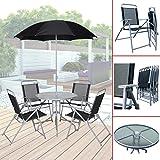 (020) Gartenmöbel mit 4 Stühlen Bistrotisch Sonnenschirm Sitzgruppe Textilen
