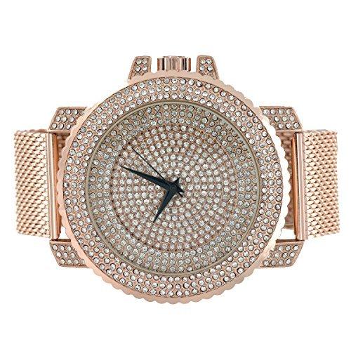 iced-out-faux-diamants-fini-or-rose-montre-bande-en-maille-joe-rodeo-jojo-look