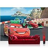 Fototapete 368x254 cm PREMIUM Wand Foto Tapete Wand Bild Papiertapete - Disney Tapete Cars Auto Kindertapete Cartoon Jungen bunt - no. 2911