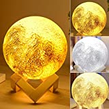 Soriace® 3D Printing Moon Lamp, Rechargeable Touch Switch Bedroom Night Light Moon Light Table Desk Lamp, Great as a gift for Birthday Christmas (13CM)