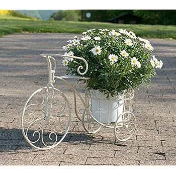 pflanzfahrrad metall wei grau deko fahrrad mit pflanzkorb blumenst nder garten. Black Bedroom Furniture Sets. Home Design Ideas