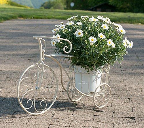 Pflanzfahrrad Metall weiß-grau Deko-Fahrrad mit Pflanzkorb Blumenständer
